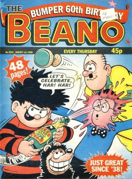 1998 August 1st Bumper 60th year BEANO vintage comic Good Gift Christmas Present Birthday Anniversary ref12 A vintage comic in good read condition. Label on cover. Please see larger photo and full description for details.