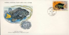 The Yellowtail Damselfish CASTRIES ST. LUCIA 1978 Stamp World Wildlife Fund First Day Cover FDC refWWF57 Stamp Cover with information paper regarding cover topic.  A vintage lightweight cover in very good condition. Please see larger photo and full description for details.