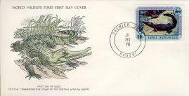 Slender-Snouted Crocodile BANGUI CENTRAL AFRICAN EMPIRE 1978 Stamp World Wildlife Fund First Day Cover FDC refWWF63 Stamp Cover with information paper regarding cover topic.  A vintage lightweight cover in very good condition. Please see larger photo and full description for details.