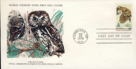 The Saw-Whet Owl wild bird FAIRBANKS ALASKA 1978 Stamp World Wildlife Fund First Day Cover FDC refWWF46 Stamp Cover with information paper regarding cover topic.  A vintage lightweight cover in very good condition. Please see larger photo and full description for details.
