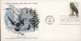 The Great Gray Owl bird FAIRBANKS ALASKA 1978 Stamp World Wildlife Fund First Day Cover FDC refWWF51 Stamp Cover with information paper regarding cover topic.  A vintage lightweight cover in very good condition. Please see larger photo and full description for details.