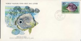 The Foureye Butterfly Fish CASTRIES ST. LUCIA 1978 Stamp World Wildlife Fund First Day Cover FDC refWWF53 Stamp Cover with information paper regarding cover topic.  A vintage lightweight cover in very good condition. Please see larger photo and full description for details.