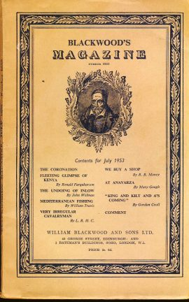 """Blackwood's magazine published by William Blackwood and Sons Ltd Edinburgh and London.  Measures approx 9"""" x 5.8"""". Blackwoods paperback magazines contain articles written by various authors plus advertisments. The vintage adverts are ideal for anyone wanting an insight into a different era."""