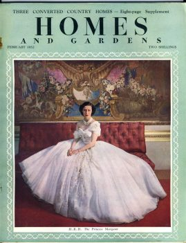 HOMES & GARDENS February 1952 HRH Princess Margaret on cover vintage magazine - converted country homes feature refS1-010 This vintage magazine is in Good Condition for age. Has some great vintage adverts in black and white & a few in colour. Staples rusting.  Please read the full description and see photo. This listing is for the Magazine ONLY. Sorry no extras