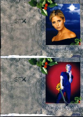 2 SFX Christmas Cards BUFFY & SPIKE approx 21x14cm unfolded size refS2-037 Good Condition. Photo shows not folded. Greeting printed on other side (inside when folded). Produced by SFX magazine. Please read the full description and see photo.
