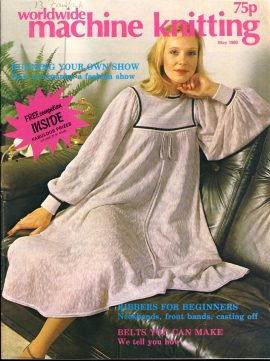 Worldwide Machine Knitting patterns magazine May 1980 56 pages refS1-056 This vintage publication is in Good Condition for age. Please read the full description and see photo.