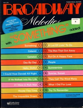 1977 BROADWAY Melodies with BEATLES Something Piano / Vocal Edition ref0015 S7-box1 This is a pre-owned music & song book in good condition.