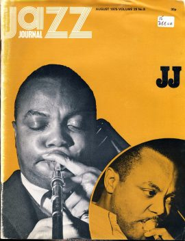 Jazz Journal 1975 Vol.28 #8 vintage magazine  ref01-018 44 pages. This is a used item in acceptable condition with creases to cover and pages. Please read full description.