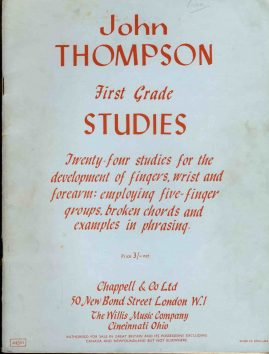 John Thompson First Grade STUDIES Chappell vintage sheet music book refS1-30 Good Condition for age . Please see large photo and read full description.