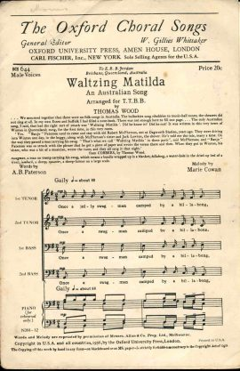 Waltzing Matilda An Australian Song Oxford Choral Songs vintage sheet music refS1-3040 Good Condition for age . Please see large photo and read full description.