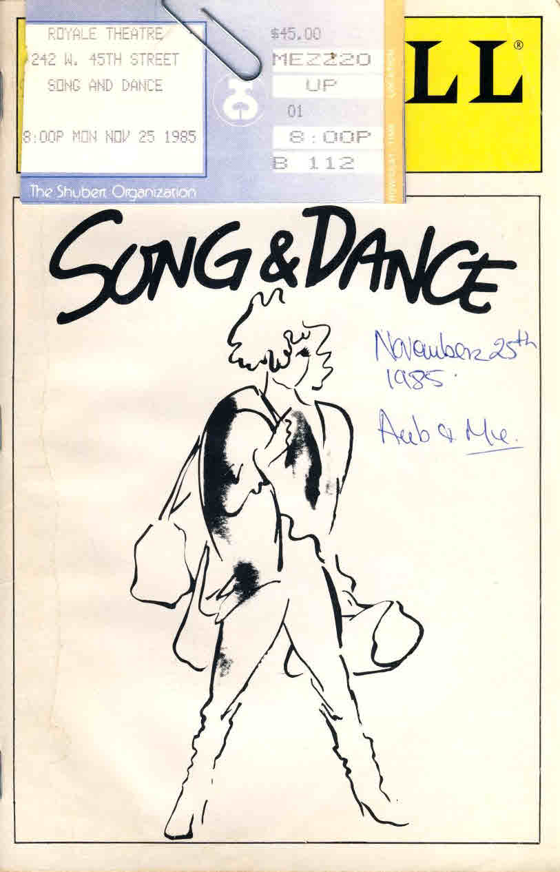 1985 Song and Dance Playbill Royale Theatre Programme + ticket stubs clipped on cover ref005 S7-box1 This is a pre-owned product in  good condition for age. It has marks