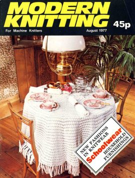 MODERN KNITTING For Machine Knitter August 1977 magazine 48 pages ref59 S2-box4  This is a pre-owned product in good condition. Crease on cover. Name written on back cover - please see full description and photo.