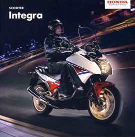 HONDA Scooter Integra 12 page brochure 2014 with fold-out specs ref62 S2-box4  Measure approx 21cm x 21cm. This is a pre-owned product in very good condition - please see full description and photo.