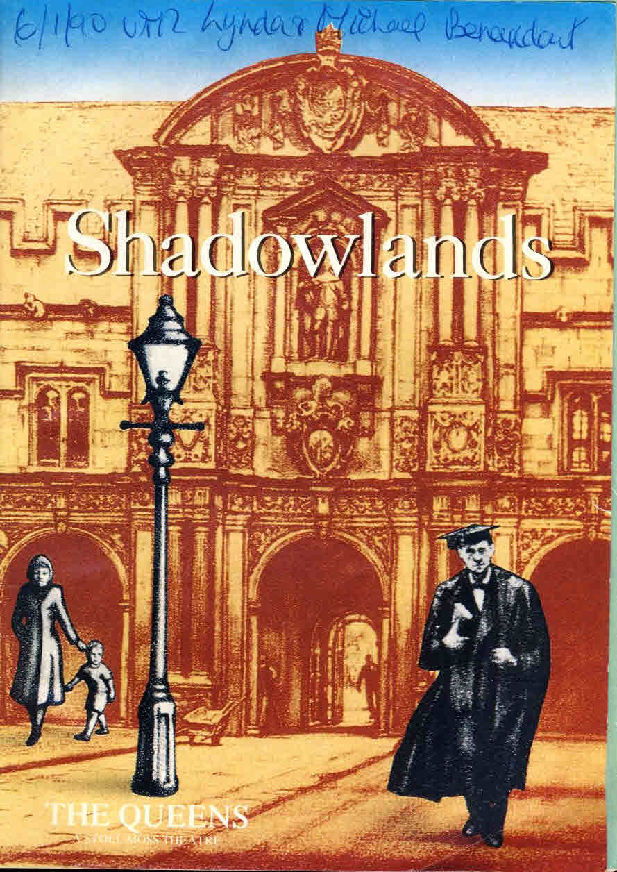1990 Shadowlands The Queens Theatre Programme NIGEL HAWTHORNE Jane Lapotaire ref006 S7-box1 This is a pre-owned product in fair condition.