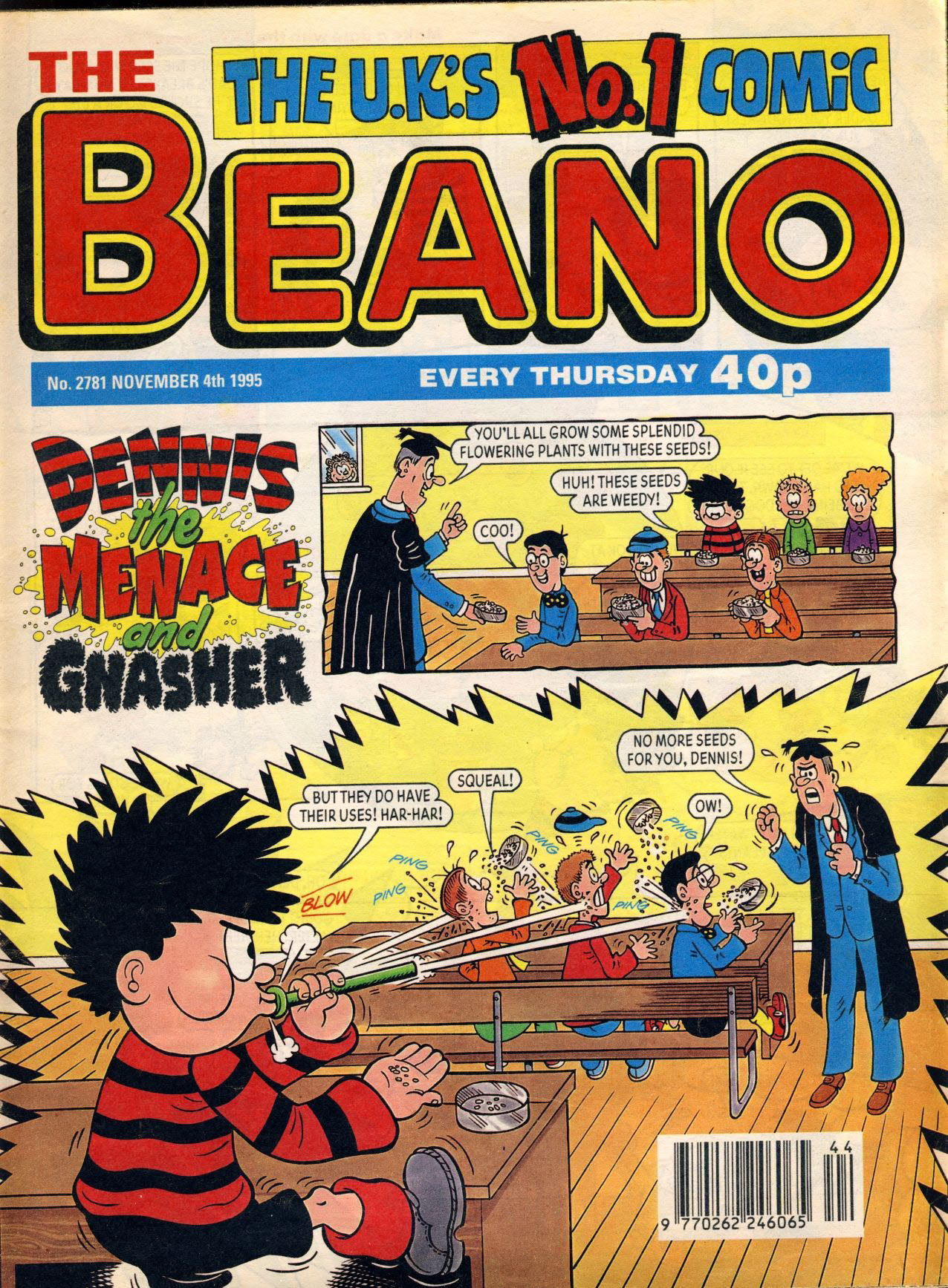 1995 November 4th BEANO vintage comic Good Gift Christmas Present Birthday Anniversary ref110 A vintage comic in good read condition. Please see larger photo and full description for details.