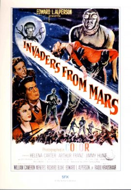 SFX LARGE PRINT of Film Poster INVADERS FROM MARS measures 21x 29cm approx refS2-031 Ideal for framing. This glossy photo print produced by SFX is in Good Condition.  Please read the full description and see photo.
