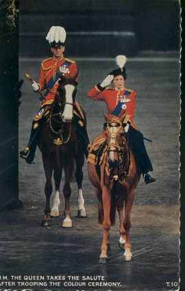 1963 H.M.The Queen & Duke of Edinburgh Trooping the Colour Horses Vintage Postcard refP1 Please see BOTH large photos and description for details.