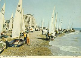 1988 Yachts at St Leonards on Sea HASTINGS Vintage Postcard refP1 Please see BOTH large photos and description for details.