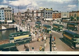 1952 DUBLIN O'Connell Bridge & Street BRI CHOALANN Vintage Postcard refP1 Please see BOTH large photos and description for details.