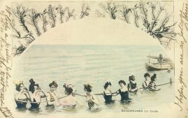 1915 WOMEN SEABATHERS Baigneuses La Corde Vintage Postcard refP1 Please see BOTH large photos and description for details.