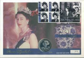 2001 Gibraltar Crown Coin FDC Queen Elizabeth II 75th Birthday stamps cover refLSC4 In very good condition. Please see larger photo and full description for details.