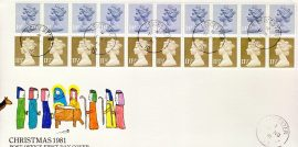 1981 Christmas Definitive Stamps Cover strips 10 x 14p