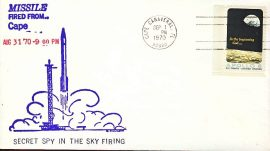 1970 Cape Canaveral Apollo 8 stamp cover SECRET SPY MISSIEL FIRING refd103 In very good condition for age . Please see larger photo and full description for details. Not sealed no insert.