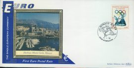 Monaco Harbour Grand Prix Philatelie EURO currency 1st postal stamps 1998 BENHAM silk cover refD133 In very good condition for age. Please see larger photo and full description for details.