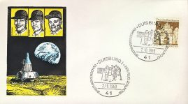 1969 DUISBURG Moon Landing Deutsche Bunderpost stamp cover Briefmarkenschau Der Flug Zummond refd109 In very good condition for age . Please see larger photo and full description for details. Sealed no insert.
