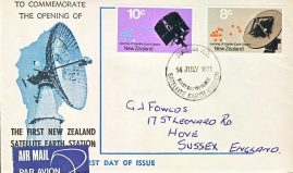 1971 New Zealand Satellite Earth Staion first day cover Airmail refd112 In good condition for age . Please see larger photo and full description for details. Not sealed no insert.