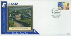 Luxembourg Vineyards EURO currency 1st postal stamps 1999 BENHAM silk cover refD135 In very good condition for age. Please see larger photo and full description for details.