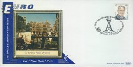 Brussels Belgium Bruxelles La Grand Place EURO currency 1st postal stamps 1999 BENHAM silk cover refD136 In very good condition for age. Please see larger photo and full description for details.