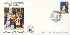 H.M.Queen Mother's 80th Birthday Walmer Castle DEAL CINQUE PORTS stamp cover BOCS25 refD1143 In very good condition. With Insert Card. Please see larger photo and full description for details.