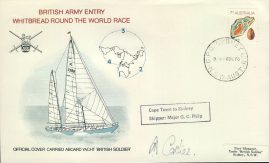 1973 Signed Carried British Army Whitbread Round the World Race Official stamp cover Cape Town to Sydney refd0016 In very good condition for age. Some creasing along top edge. Unsealed with insert card. Please see larger photo and full description for details.