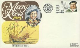 1982 Mary Rose Sank 1545 PORTSMOUTH King Henry VIII first day cover refd0017 In very good condition for age. With an interesting parchment effect to paper. Please see larger photo and full description for details. Unsealed with insert card.
