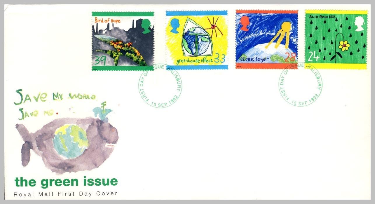 1992-09-15 Green Issue Environment Stamps FDC Salisbury fdi postmark refE219 Cover in good condition. Please see larger photo and full description for details.
