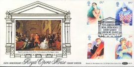 Royal Opera House Covent Garden Anniversary theatre stamps silk cover BLS3 refD144 In very good condition. With Insert Card. Please see larger photo and full description for details.