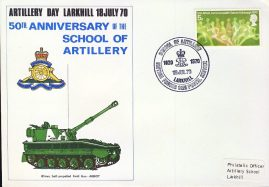 Larkhill School of Artillery 1970 British Forces stamps cover refD300 In very good condition. Please see larger photo and full description for details.
