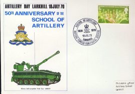 5oth Anniversary LARKHILL School of Artillery 1970 stamps cover refD299 In very good condition. Please see larger photo and full description for details.