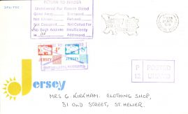 CDS 1978 DPA/FDC Jersey cover Posted Unpaid stamp RETURN TO SENDER refE101113 Cover in Good condition. Unsealed no insert card - flap stuck down inside. Please see larger photo and full description for details.