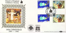 CANTERBURY Church of England Christmas stamps silk picture cover Children's Society carried by Mail Coach Gutter Pair stamps Benham BOCS(2)8 refD150 In very good condition. With Insert Card. Please see larger photo and full description for details.