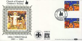 Church of England Children's Society CANTERBURY silk picture cover CHRISTMAS stamp gutter pair Benham BOCS(2)8 refD151 In very good condition. With Insert Card. Please see larger photo and full description for details.