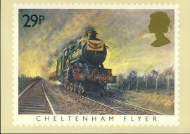 1985 Cheltenham Flyer PHQ stamp postard FAMOUS TRAINS refd0026 In very good condition for age. Please see larger photo and full description for details. Unsealed.