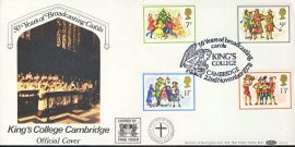KING'S COLLEGE CAMBRIDGE Christmas Carols picture cover 50 years broadcasting official cover carried by stage coach. refD155 In very good condition. With Insert Card. Please see larger photo and full description for details.
