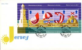 1975 Welcome to Jersey stamp sheet FDC Beach Lighthouse Sandcastle Shell refE101119 Cover in Good condition. Unsealed no insert card. Please see larger photo and full description for details.