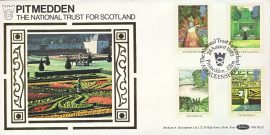National Trust for Scotland PITMEDDEN silk picture garden stamps cover ABERDEENSHIRE BLS5 refD156 In very good condition. With Insert Card. Please see larger photo and full description for details.