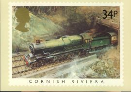 1985 Cornish Riviera PHQ stamp postcard Paddington Station London FAMOUS TRAINS refd0028 In very good condition for age. Please see larger photo and full description for details. Unsealed.