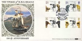 Charles Darwin Voyage of H.M.S. Beagle silk picture stamps cover PLYMOUTH postmark  BLS1 refD157 In very good condition. With Insert Card. Please see larger photo and full description for details.