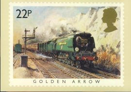 1985 Golden Arrow PHQ stamp postcard Orient Express Victoria Station London FAMOUS TRAINS refd0029 In very good condition for age. Please see larger photo and full description for details. Unsealed.