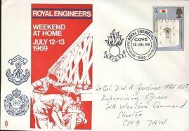 Prince of Wales 5d stamp ROYAL ENGINEERS 1969 stamp cover Postmark BFPS 1095 COVE UBIQUE refD312 In good condition for age. Please see larger photo and full description for details.
